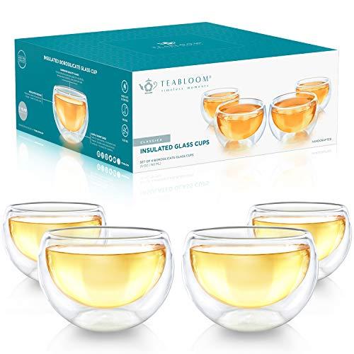 Teabloom Doppelwandige Tassen – Set mit 4 Isolierglasbechern für Tee, Kaffee, Espresso und mehr - 150ml – Classica Teetassen Kollektion