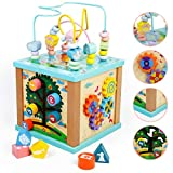 Toddler Wooden 5 in 1 Activity Cube Center Multifunction Toys Bead Maze Shape Sorting Gears Sliding Board Games Montessori Counting Beads Early Learning Birthday Gift for Kids 3 4 5 Years Old