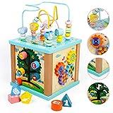 Cube de Actividades Juguetes de Madera Juego Educativo 5 en 1 Cubos Madera con Pista Deslizante, Enseñanza de Reloj,...
