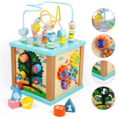Fajiabao Cubo attività Legno Bambini Giochi in Legno 5 in 1 Giochi Montessori Educativi Gioco Montessoriano Multiattivita Tavolino Attivita Giocattolo per Bambina Regalo di Compleanno 3 4 5 Anni