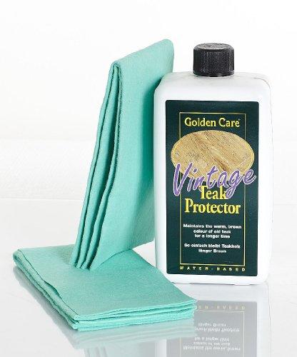 Golden Care Teak Vintage Protector + 2 Applikatortücher Holzschutz Holzpflege für Gartenmöbel