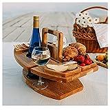 Yuemei Tragbar Klapptisch Holz Abnehmbarer Weintisch Tabletttisch Camping, Zusammenklappbarer Rund Picknicktisch Holz Picknicktisch Kleiner Strandtisch Grill Beistelltisch Garten Für Den Außenbereich