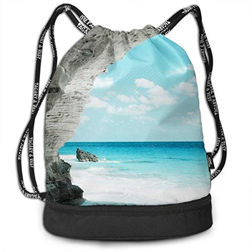Petrichor Yi Gym Sack Cave Sea Coast Rock Print Drawstring Bags - Sac à Dos à Poche Simple Bundle