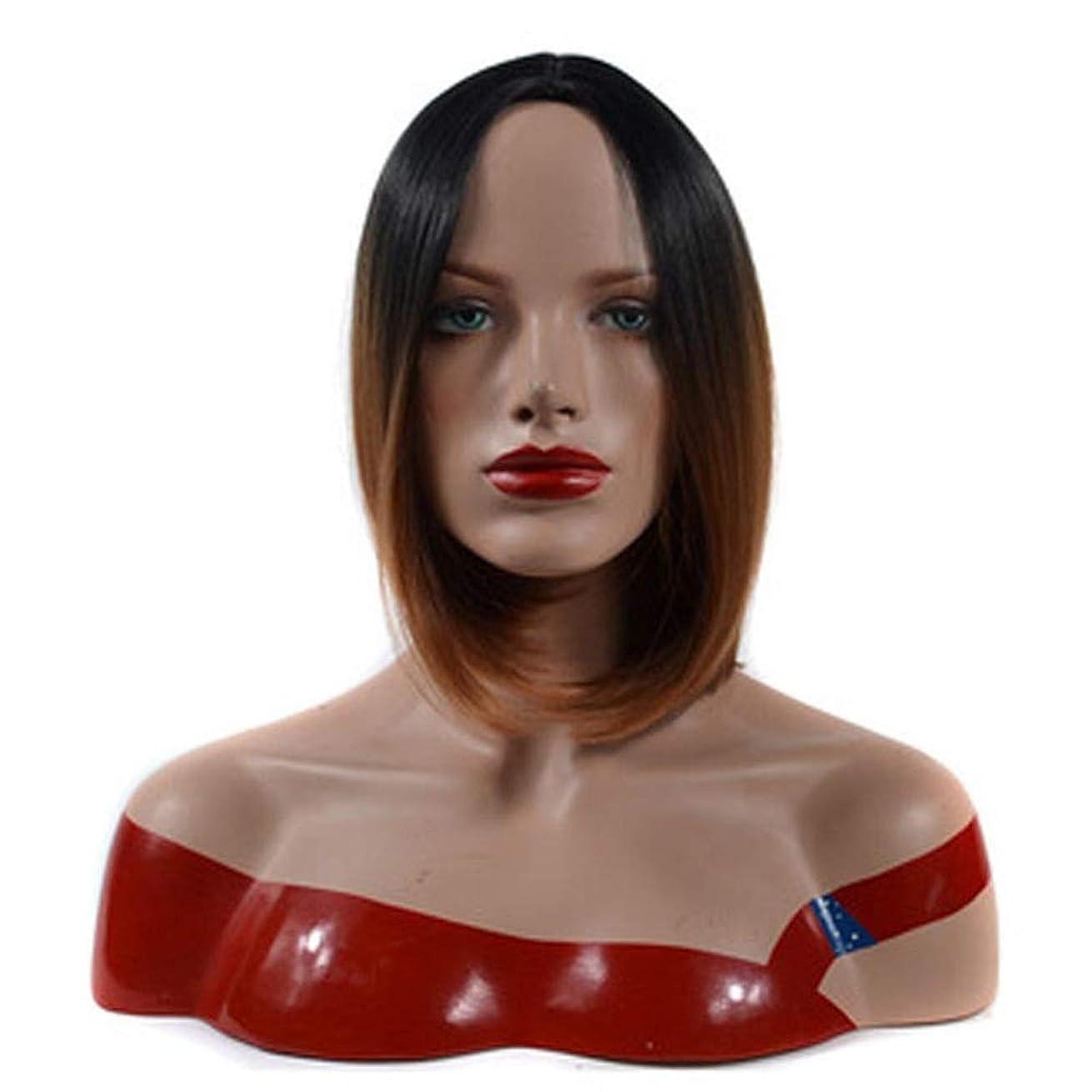 水族館条約修正Isikawan 女性のコスプレパーティードレスの黒髪の根のライトブラウンの短いストレートの髪のためのボブウィッグ (色 : Light brown, サイズ : 30cm)