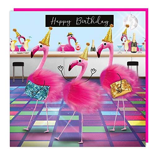 """""""Happy Birthday"""": Flamingo mit Flaum und Wackelaugen Doppelkarte mit Umschlag Gr: 15,8x15,8cm"""