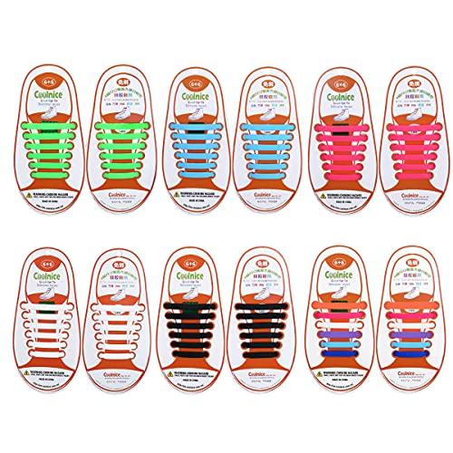 Yuccer Lacci Elastici per Scarpe Bambini, 6 Pacchi Lacci in Gomma Impermeabili in Silicone Stringhe Elastiche (6 Colori)