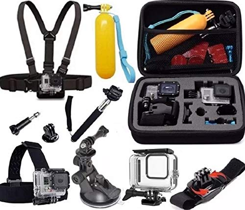 Acessórios para Gopro Hero 8 Black Caixa estanque a prova dagua Mala média suporte guidao bicicleta (12 itens)