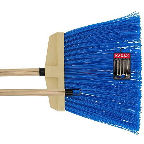 KADAX Besen zum Kehren von Straßen und Gehwege, Gartenbesen mit Stiel aus Holz, Straßenbesen aus Nylon, Industriebesen für Bürgersteige (Blau)
