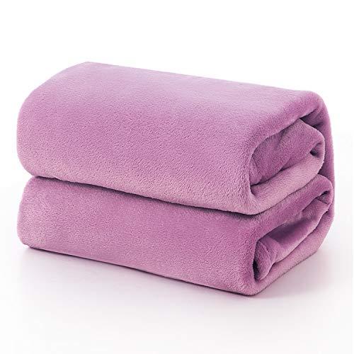 Bedsure Flannel Fleece Blanket Throw Size (50 x60 inch),Lilac Light Purple Lavender Violet Lightweight Blanket for Sofa, Couch, Bed Super Soft Cozy Microfiber Blanket
