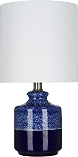 Catalina Lighting 21558-000 Transitional 2-Tone Textured Ceramic Accent Table Lamp with Linen Shade, 15