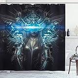 ABAKUHAUS Fantasy World Duschvorhang, Prinzessin Gothic, Personenspezifisch Druck inkl.12 Haken Farbfest Dekorative mit Klaren Farben, 175 x 200 cm, Grau