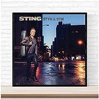 Suuyar スティング57Th&9Thミュージックアルバムカバーポスターとプリントウォールアートプリントキャンバスにリビングルームの家の寝室の装飾-28X28インチX1フレームレス