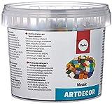 Rayher 1453049 Teselas de cristal de colores mixtos, 1 kg, para interior y exterior