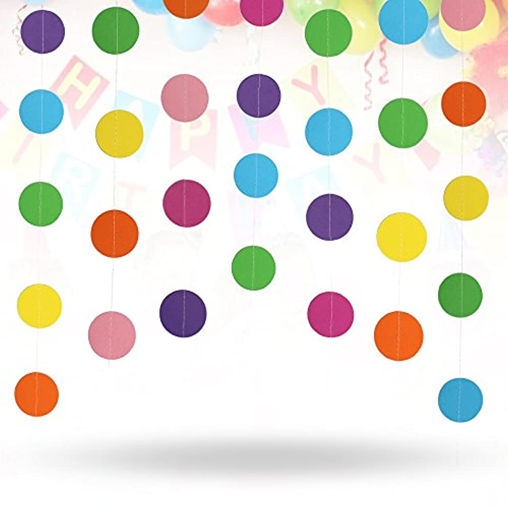 Erlvery DaMain 4 Pack 52.4 Feet Colorful Circle Dots Paper Garland Backdrop Hanging Decoration Strings for Party Wedding Birthday Baby shower