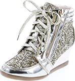 Forever Link Women's Fashion Glitter High Top Lace Up Wedge Sneaker Shoes,Gold,6
