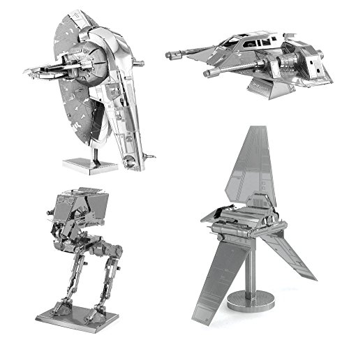 Metal Earth 3D Model Kits Star Wars Set of 4 Snowspeeder - Imperial Shuttle - Slave 1 - AT-ST