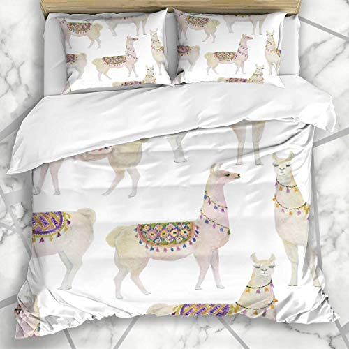 666 UNKEY Funda nórdica Sets Mammal Lama acuarela pintura blanca Llamas Perú divertido Alpaca América bebé microfibra ropa de cama con 2 fundas de almohada