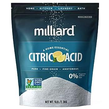 Milliard Citric Acid 5 Pound - 100% Pure Food Grade Non-GMO Project Verified  5 Pound