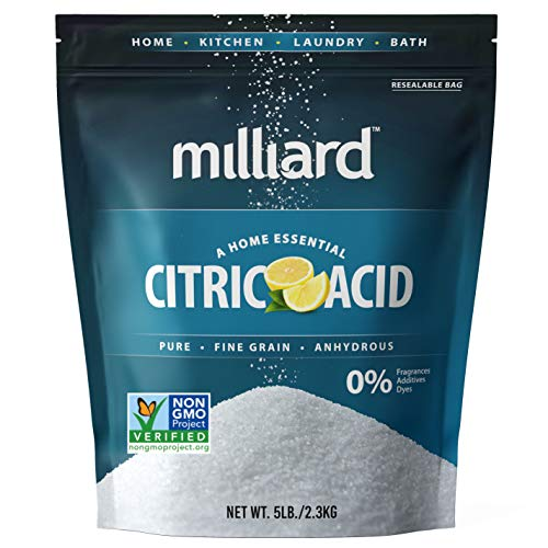 Milliard Citric Acid 5 Pound (2.2 kg) - 100% Pure Food Grade Non-GMO Project Verified (5 Pound)
