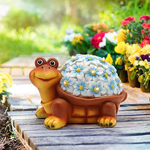 Afuly Solar Schildkröte Außen Gartenleuchten Figuren im Freien 9 LED Blaues Shuttle Dekoration Patio Yard