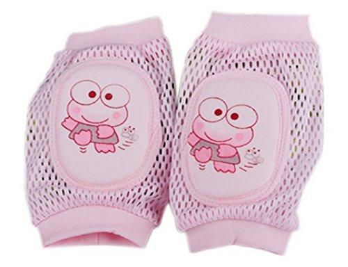 Z-linda 2ps Rodilleras para Bebé Hueco Respirable Esponja Engrosada Rana Rosa