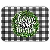 Tapetes de secado de platos de boj para cocina, 40,6 x 45,7 cm, diseño de cuadros de búfalo a cuadros, para primavera, verano, otoño, escurridor de platos de cocina