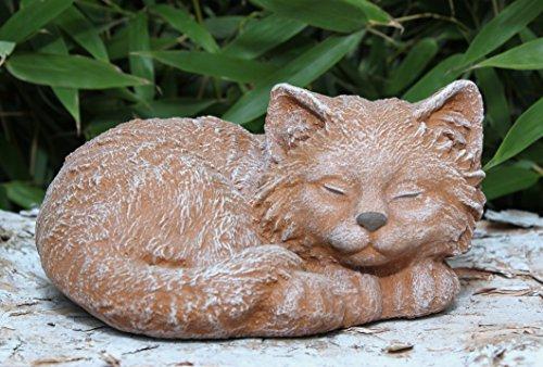 Steinfigur Katze schlafend Terrakotta, Garten, Deko, Stein, Figur, Frostsicher