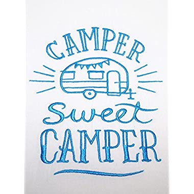 RV Camping Decor - Embroidered Flour Sack Towel - Blue on White - Camper Sweet Camper