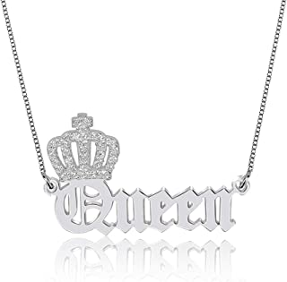 Personalized Jewelry 925 Sterling Silver Old English Name Necklace with Crown Gift for Women