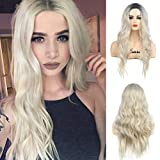 Ombre Blonde Wigs Long Curly Wavy Dyeing Root Synthetic Replacement Cosplay Wigs Heat Resistant Party Wig for Women