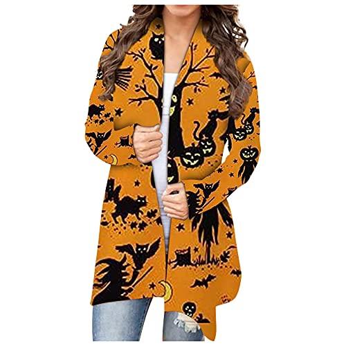 Mujeres Halloween Animal Gato Calabaza Print Cardigan Otoño Capa Blusa SW830425, naranja, L