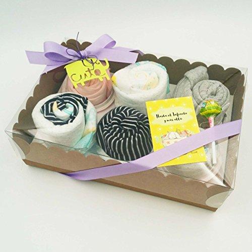 Regalo Muy Original para Recién Nacidos | 6 Cupcakes con: 1 BODY, 1 GORRITO, 2 pares de CALCETINES y 1 BABERO | Todo es de MARCA | Talla: 1-6 meses | Versión UNISEX