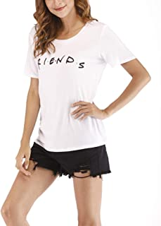 Cuihur Women's Summer Short Sleeve Friends T Shirt Loose Casual Graphic Tees Blouse Tops
