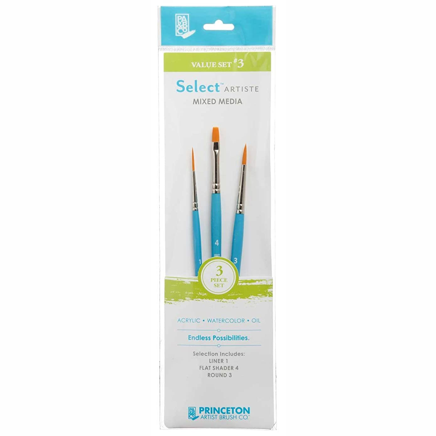 Princeton Select Artiste, Mixed-Media Brushes for Acrylic, Oil, Watercolor Series 3750, 3 Piece Value Set 103