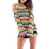 Abcidubxc - Blusa Casual de Punto para Mujer, diseño de Rayas arcoíris L Talla única