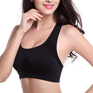 ZYDP Women's Wirefree Seamless Sports Bra High Impact Full Support Racerback Workout Gym Activewear Bra (Color : Black, Si...