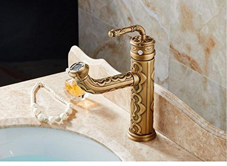 Makej Vintage Retro Carved Flower Pattern Antique Brass Single Lever Handle Bathroom Faucet Sink Basin Mixer Tap