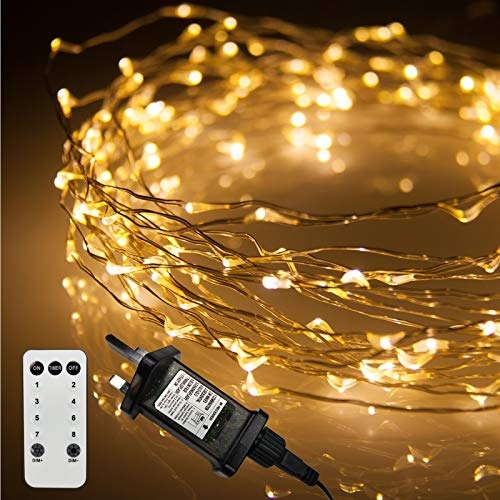 LED Christmas Lights, 200 Warm White Fairy Lights on Thin Wire. Micro Wire Lights by Qbis UK (200 Warm White LEDs on Silver Wire)
