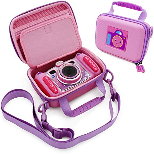 CASEMATIX Pink Camera Case Compatible with VTech KidiZoom Camera for Kids - Protective Travel Case with Shoulder Strap Compatible with VTech KidiZoom Duo Selfie Cam, Pix, Twist Connect and More!