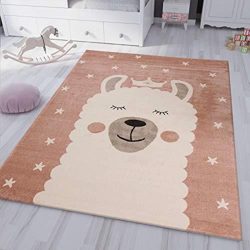 VIMODA kinderteppich Teppich Lama König Spiel Zimmer für Kinder Flauschig, Maße:120x170 cm