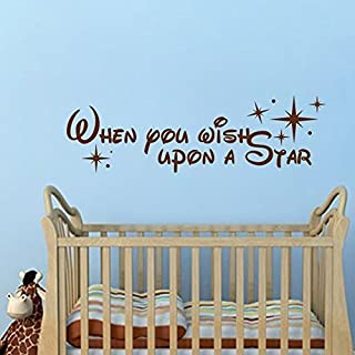 Vinyl Sticker When You Wish Upon A Star Wall Quote Decal - Baby Room Decal for Baby Girl Nursery Baby Boy Nursery (Dark Brown, 7'' x22'').