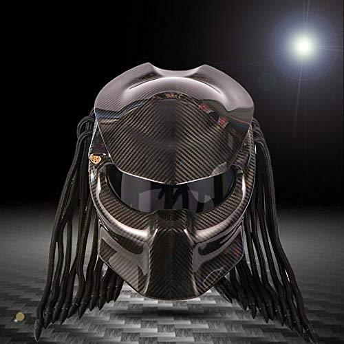 Motorradhelm Carbon Fiber Predator Helm, Anti-Nebel-Lens, DOT Safety Certification, Rollenspiel, Party, Dance und Predator Movie Lovers,Black,L(59~60) cm