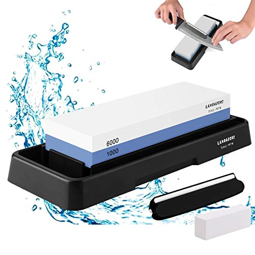 Knife Sharpening Stone Set,Whetstone Dual Sided 1000/6000 Grit Waterstone with Angle Guide Non Slip Rubber Base Holder, Knife Sharpeners Tool Kit for Kitchen Hunting (Blue + black)