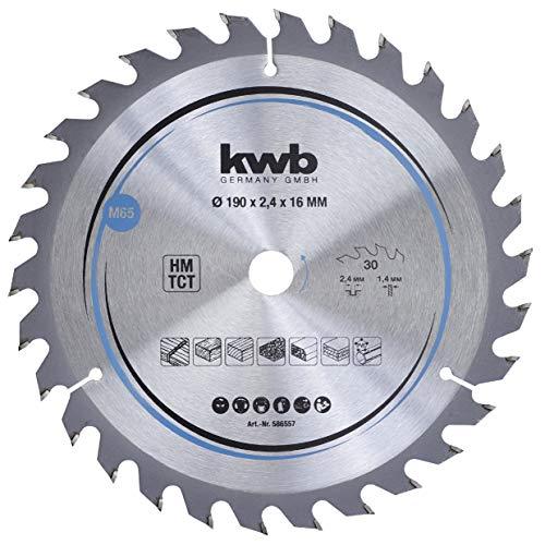 kwb 586557 Span-Platten Kreissäge-Blatt, Holz-/Hartholz, 190 x 16 mm, saubere Schnitte, mittlere Zahl, 30 Zähne Z-30, CleanCut Sägeblatt mittel, 190 x 16