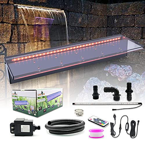 """LONGRUN Acrylic Spillway Waterfall Multi-Color Controllable LED Light Water Pool Fountain with 47.2"""" PVC Tube Fountains Kit for Swingming Pond Garden Outdoor-23.6' x 8' x 4'(W x D x H)"""
