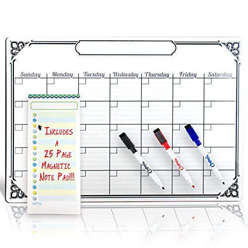 Signs Authority RIGID Magnetic Calendar for Refrigerator White Board | Perfect for Wall Hanging | Great as a Kitchen Fridge Dry Erase Family Board Planner | Free Whiteboard Magnet Markers Included