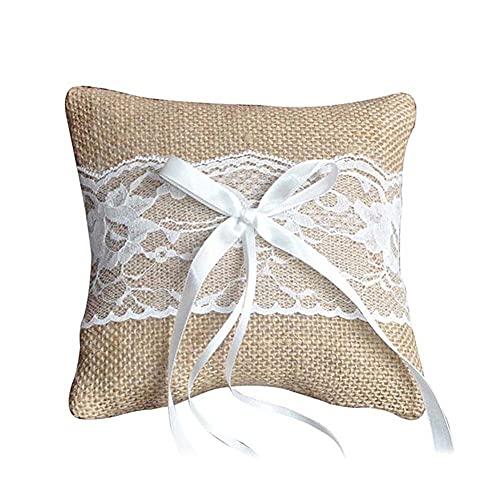 Crazyfly Anillo de boda almohada cojín vintage arpillera encaje decoración para fiesta nupcial ceremonia bolsillo