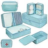 Koffer Organizer Set 8-teilig, kleidertaschen für Kleidung Kosmetik Schuhbeutel Kabel Aufbewahrungstasche, Reisen Organizer Tasche Blau (Marineblau)