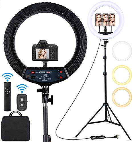 18 inch LED Ring Light with Tripod Stand Dimmable Makeup Selfie Ring Light for Studio Portrait YouTube Vlog Video Shooting with Carrying Bag and Remote Controller, CRI 90