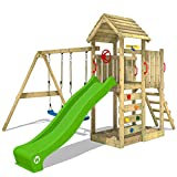 WICKEY Aire de jeux Portique bois MultiFlyer HD avec balançoire et toboggan vert pomme, Maison enfant exterieur avec toit en bois, bac à sable, échelle d'escalade & accessoires de jeux